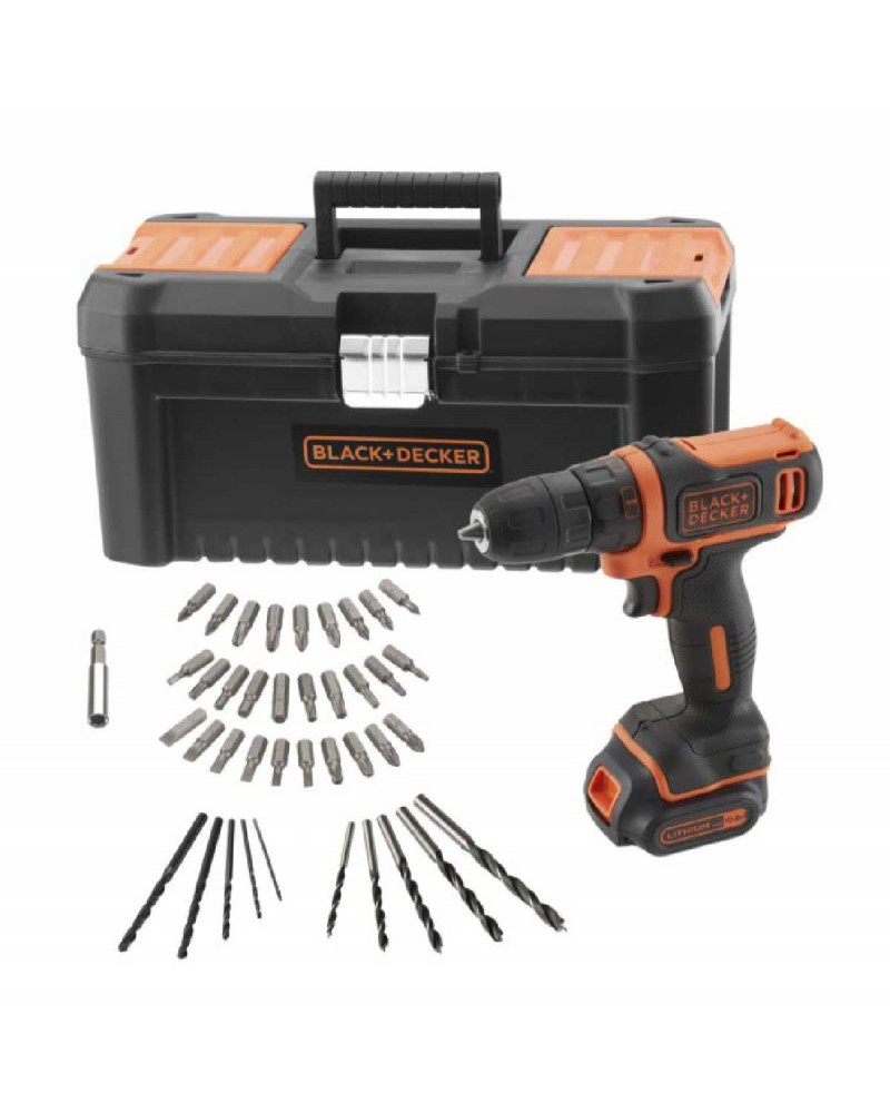 Black&Decker 10.8V Lithium Ion Drill Driver + 40 Accessories in Toolbox