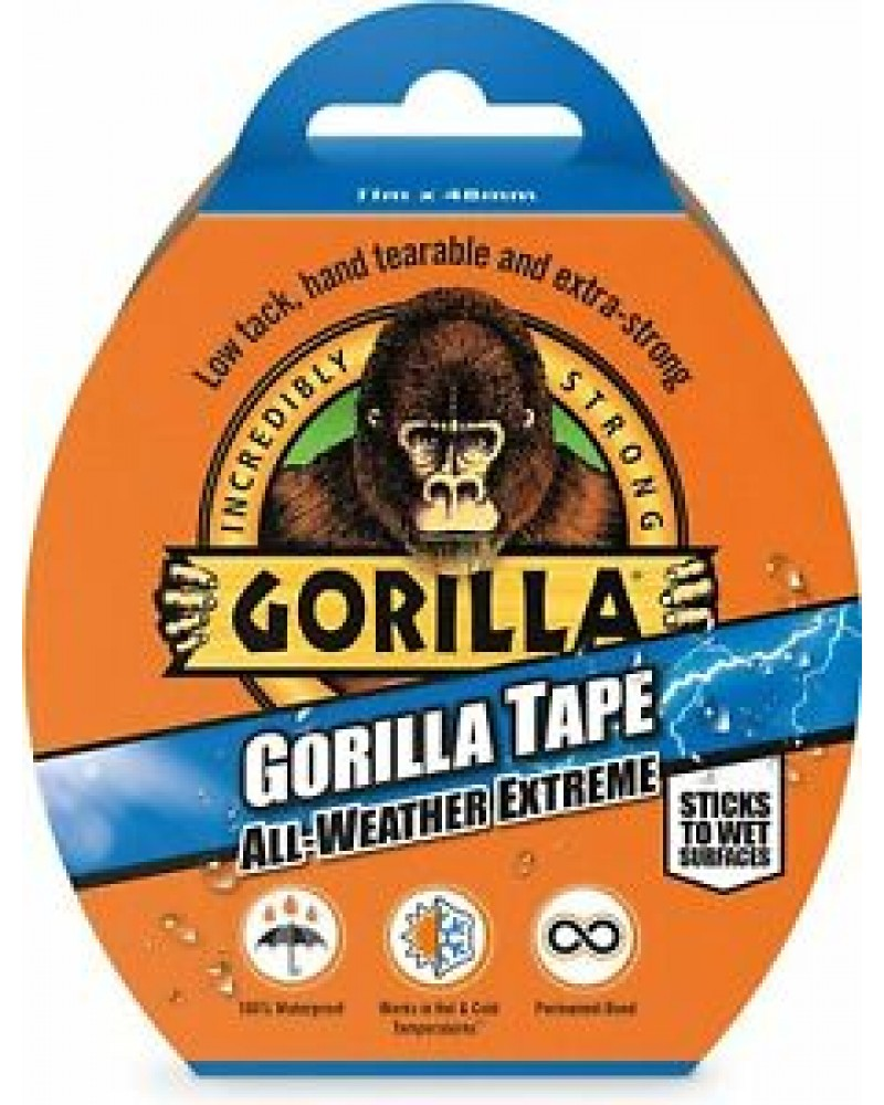 Gorilla all weather extreme tape 11X48mm black stick to wet surfaces