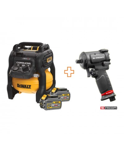 "DEWALT 54V XR FLEXVOLT 10L AIR COMPRESSOR + 2 x 6.0Ah Bat + FACOM NS.1600FPB 1/2"" PNEUMATIC IMPACT WRENCH"